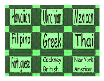 Accents & Dialect Cards