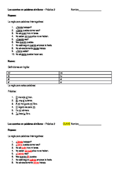 Accents - Teaching diacriticals (mí/mi) worksheet #2