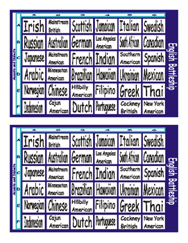 Accents and Dialects Battleship Board Game