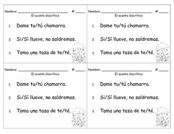 Spanish Accents - Acentuacion: El acento diacritico con si, te, tu