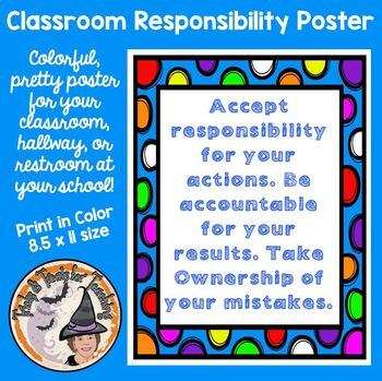 Accept Responsibility Poster Behavior Conduct Mistakes Actions Consequences