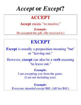 Accept or Except? Troublesome Word Poster