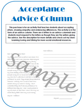 Acceptance Advice Column; writing showing empathy accepting differences kindness