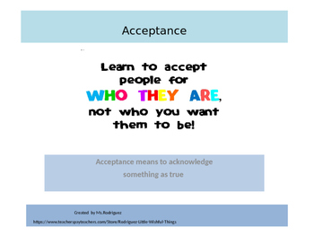 Acceptance: an important character trait