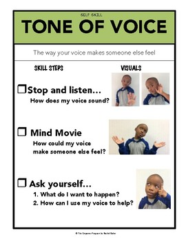 Tone of Voice Social Skill Steps Poster - The Empower Program K-2