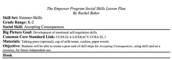 Accepting Consequences - Social Skills Lesson Plan