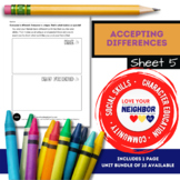 Accepting Differences - Sheet 5 Draw Activities You & Your Friend Each Enjoy