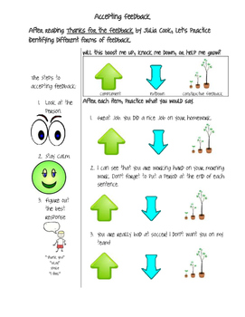 Accepting Feedback - lesson worksheet