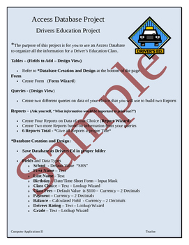Access Database - Driver's Education Student Project