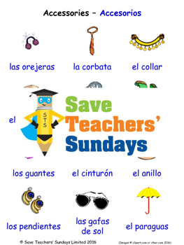 Accessories in Spanish Worksheets, Games, Activities and Flash Cards