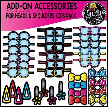Accessory Pack - for Kids Heads & Shoulders Sets {Educlips Clipart}