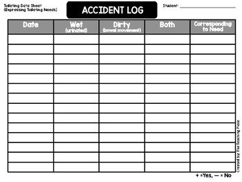 Accident Log Data Sheet