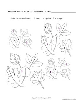 Accidentals Leaves- Music Theory Worksheet