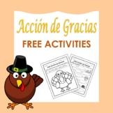 Acción de Gracias: Spanish Thanksgiving Free Activities (1