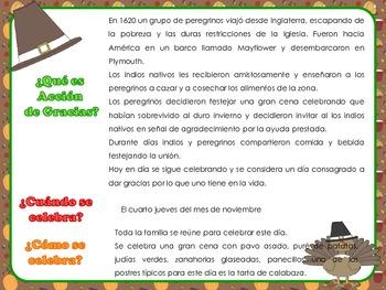 Acción de Gracias- Thanksgiving activities in Spanish