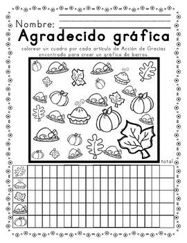 Worksheets for Acción de gracias alfabetismo & mates SPANISH