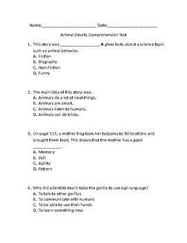 """Accommodated Test for """"Animal Smarts"""" for ELLS"""