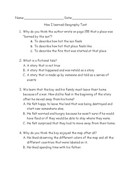 """Accommodated Test for """"How I learned Geography"""" for ELLS"""