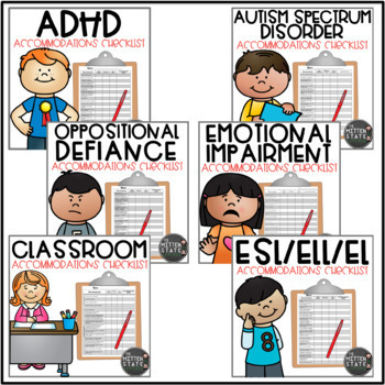 Accommodation Checklists BUNDLE {ADHD / ASD / ELL / General Classroom}