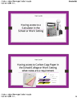 Accommodation Flash Cards for Students with Hearing Loss for Transition