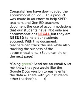 Accommodation Log [Editable]