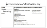 Accommodation Log for Special Education