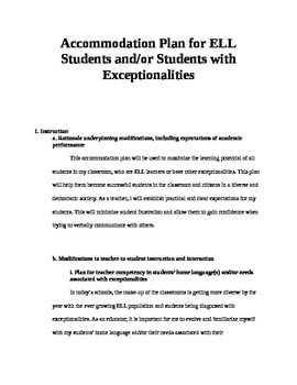 Accommodation Plan for ELL Students and/or Students with Exceptionalities