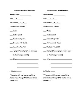 Accommodation Work Order Form
