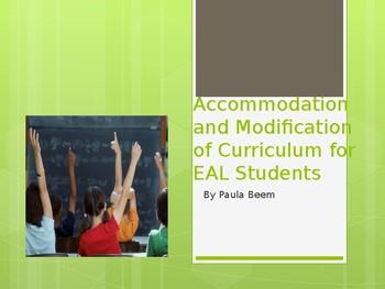 Accommodation for ESL-ELL-EAL