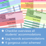 Accommodations Checklist + Log