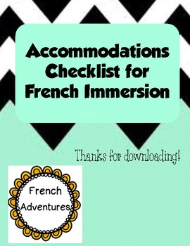 Accommodations Checklist for French Immersion