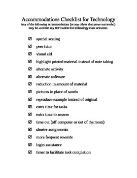 Accommodations Checklist for Technology