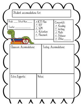 Accommodations Editable Classroom Form