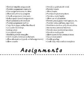 Accommodations Flip Book {Freebie}