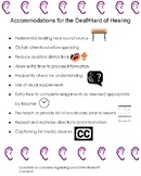 Accommodations Handout for Deaf/hard of hearing students