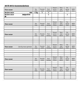 Accommodations Reference Sheet