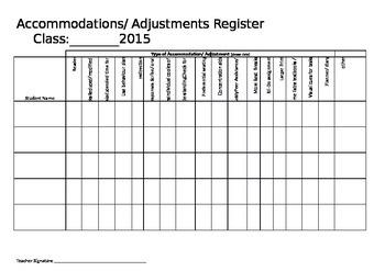 Accommodations Register