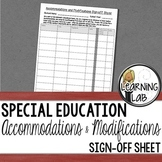 Accommodations and Modifications Sign-Off (IEP & 504 Plan) Special Education