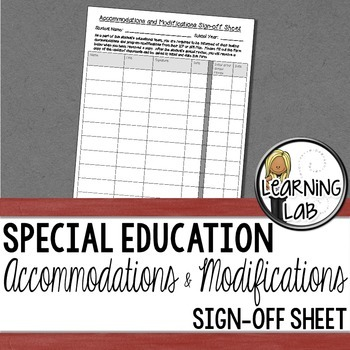 Iep Planning Accommodations And >> Accommodations And Modifications Sign Off Iep 504 Plan Special