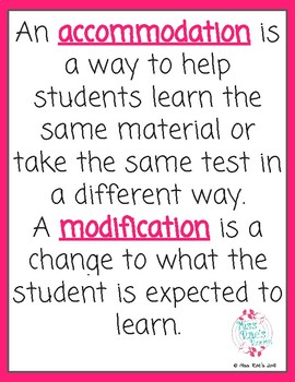 Accommodations vs Modifications FREEBIE Poster Reminder