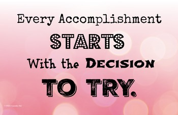 Accomplishment Try 11 x 17 Poster Classroom Management PBIS Character Ed