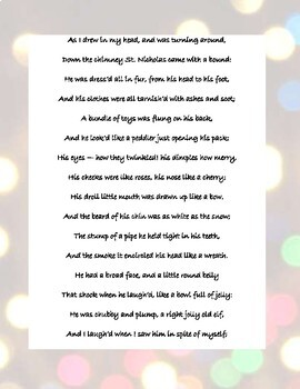 Account of a Visit from St. Nicholas poem and standard based questions