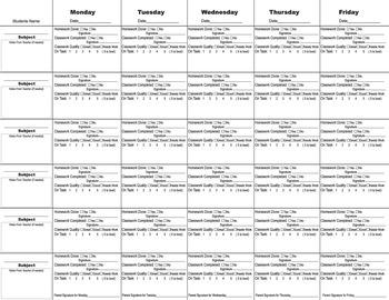 Accountability/behavior Log-Middle School/High School/Special Needs