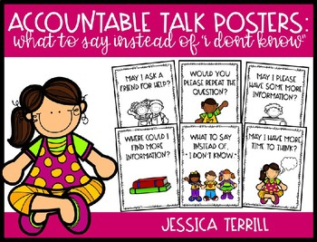 """Accountable Talk Posters: What to Say Instead of """"I Don't Know"""""""