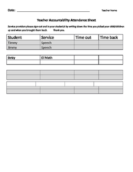 Accountability Sheet