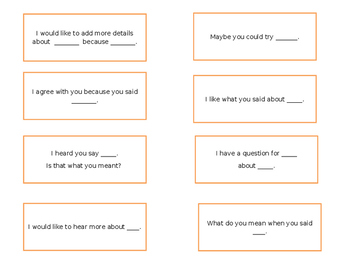 Accountability Talk Cue Cards for Peer Reviews