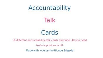 Accountability Talk Stem Cards