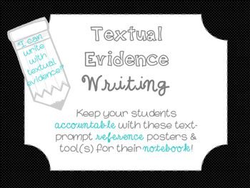 """Accountable Common Core """"Textual Evidence"""" Writing Referen"""