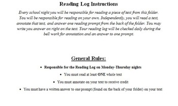 Accountable Independent Reading Homework