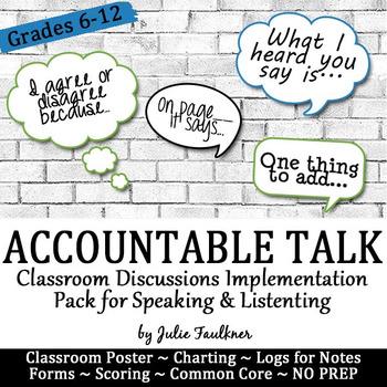 Accountable Talk: Productive Discussions & Communication Pack, Speak & Listen